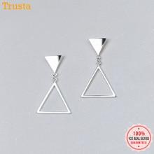Trusta 100% 925 Sterling Silver Jewelry Women's Fashion Stud Earrings  Simple Triangles Earing Gift For Girls Kid Lady DS1340