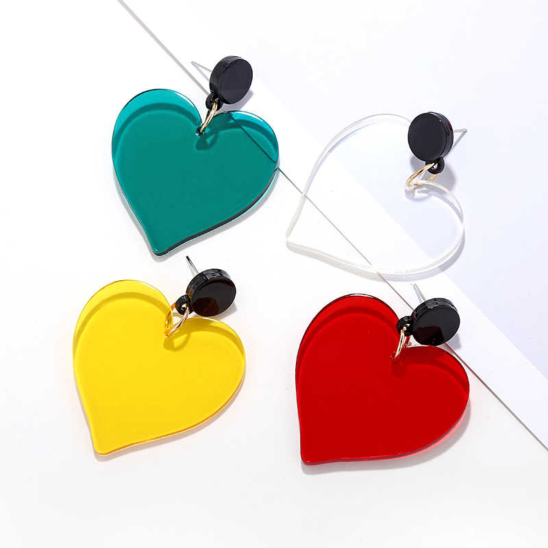 Korean Fashion Transparent Acrylic Big Heart Earrings For Women Summer Statement Jewelry Candy Color Drop Pendientes New2019