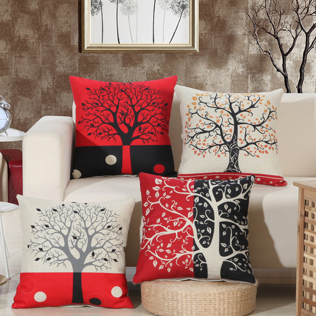 New Design Tree Print Cushion Covers Housse De Coussin 45x45cm