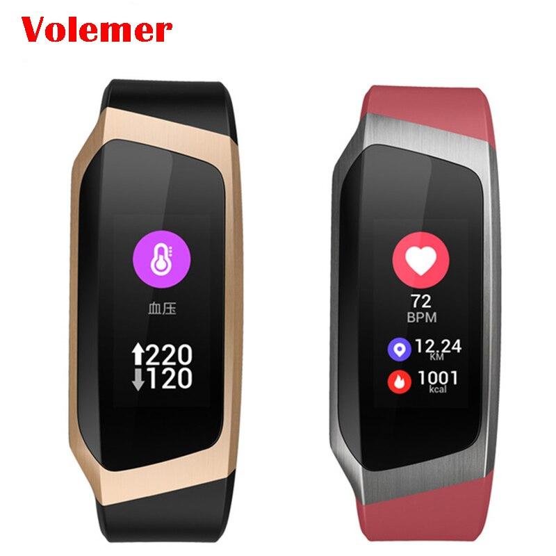 Volemer pulsera inteligente E18 pantalla de Color pulsera de pulso monitor de la medición de la presión arterial de Fitness banda PK mi banda 3