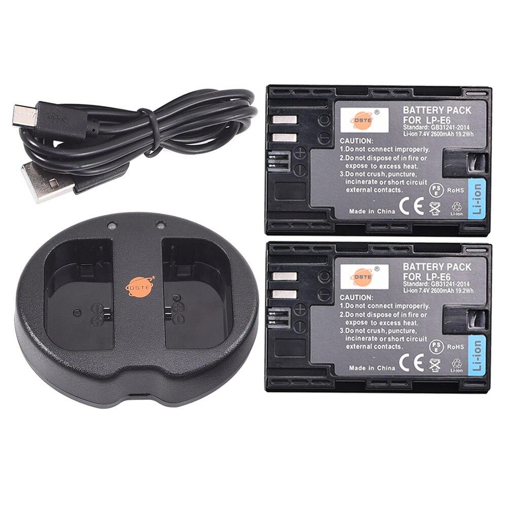 DSTE 2PCS LP-E6 LP-E6N lp e6n Batteria con il Caricatore USB Doppio per Canon EOS 5DSR, 5D Mark II, 5D Mark III, 6D, 7D, 60D, 60Da, 90D Macchina Fotografica