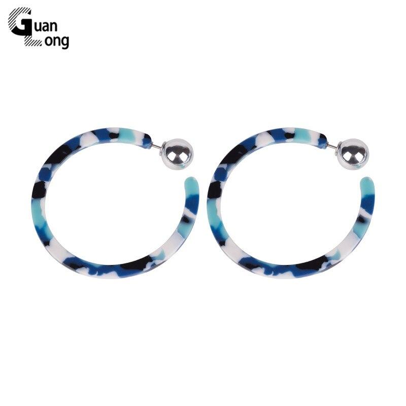 GuanLong Fashion Dangle Acetate Resin Earrings for Women 2018 New Big Circle Geometric Acrylic Dangling Earring Metal Jewelry