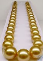 women gift word Jewelry 17INCH GOLD CLASP HUGE AAAA 13 16mm Natural south sea genuine gold round pearl necklace