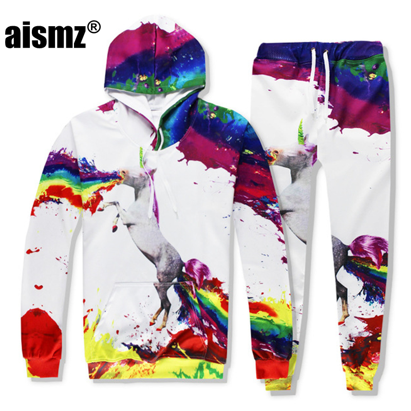 Aismz Autumn Winter Casual Mens Tracksuit Set Horse 3D Print Hooded Sweatshirt+Pants 2 Piece Sets Moletom Masculino Men Suit