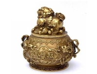 FengShui Chinese Brass Copper Wealth Fly PiXiu Elephant Statue Treasure Bowl