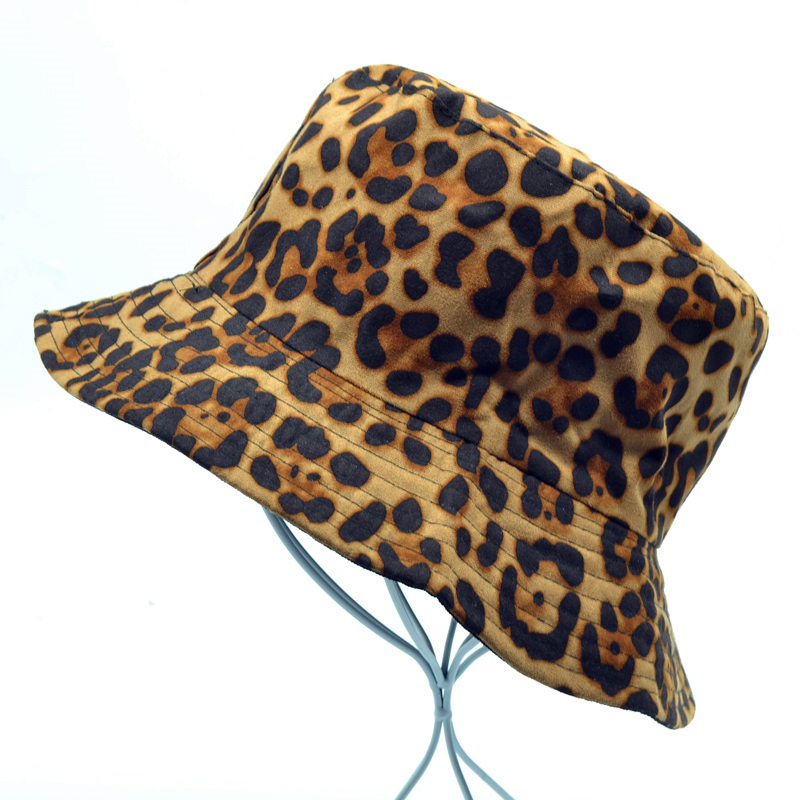 Leopard  Fashion Summer Bucket Hat harajuku Women Animal Printed Cap Fishing