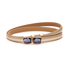 2016 Fashion brand leather women belt Rhinestone  Pin buckle Vintage belts for women Color White red blue Black