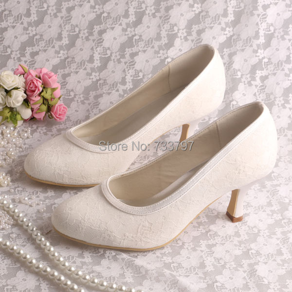 ФОТО Wedopus Custom Handmade Hot Selling Wedding Shoes Bride Ivory Medium Heel Closed Toe