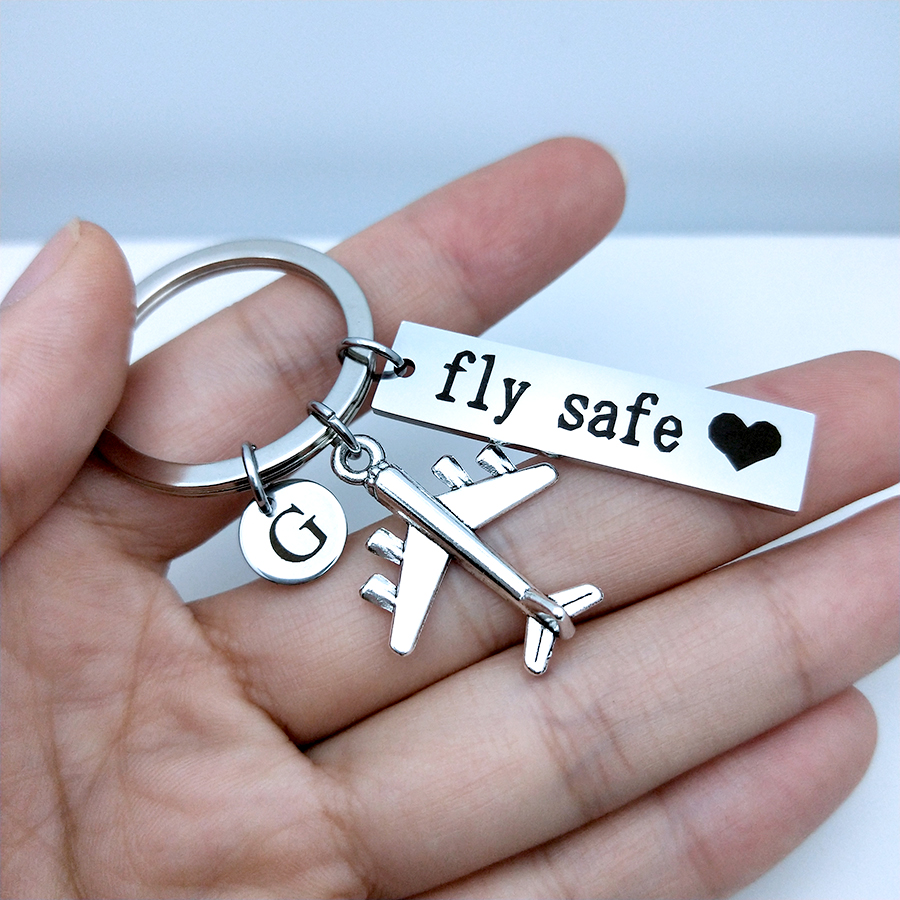 Drive Safe Fly Safe Keychain Custom Initial A-Z Letters Car Airplane Key Chain Couples Men Pilot Flight Attendant Gift Keyring