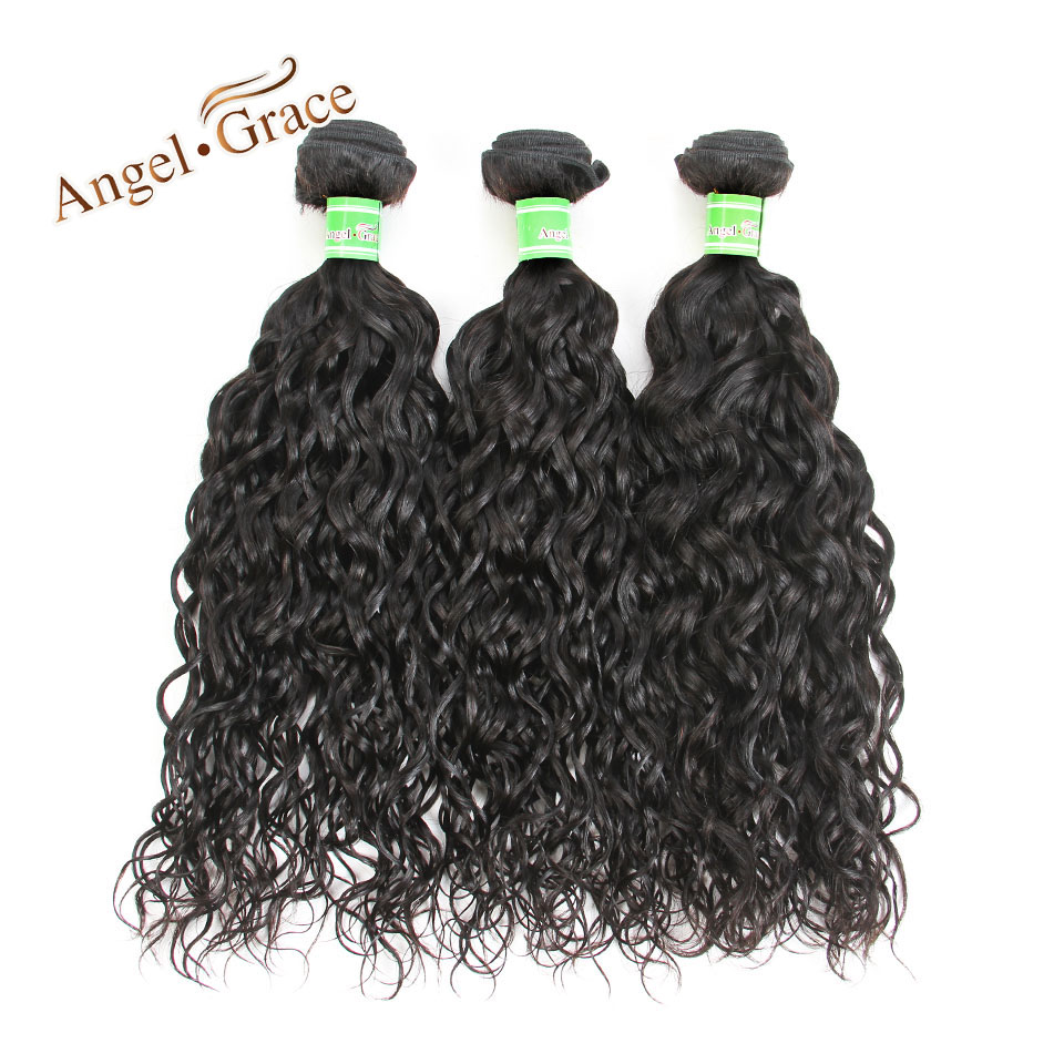 Peruvian Water Wave Hair 3 Bundles Angel Grace Hair Remy Human Hair Weave Bundles 100g/pc Natural Color Peruvian Hair Extensions