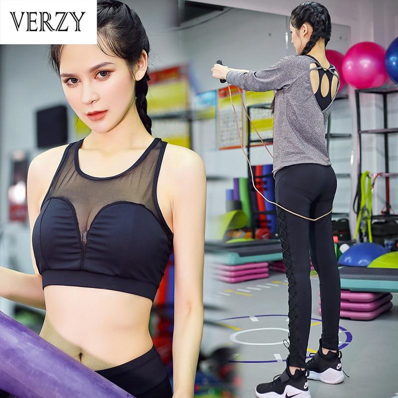 New 2017 Spring Sport Suit font b Women b font Tight Sleeve Yoga Set Mesh Gym