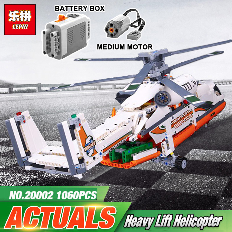Lepin 20002 Heavy Lift Helicopter Technic Plane Building Bricks Blocks Set Boy Gift Toys for Children compatible legoing 42052 new lepin 20002 technology series mechanical group high load helicopter blocks compatible with 42052 boy assembling toys