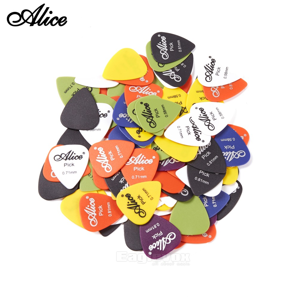 Alice 100pcs Acoustic Electric Guitar Picks Matte ABS Antiskid Antislip Plectrum Random 0.58mm 0.71mm 0.81mm Alice 100Q alice brand pick round metal boxed stainless steel random thickness color acoustic electric guitar a011b