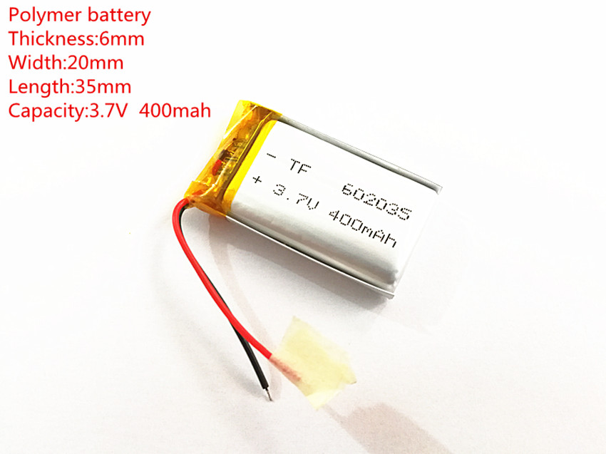 Free shipping Polymer battery 400 mah 3.7 V 602035 smart home MP3 speakers Li-ion battery for dvr,GPS,mp3,mp4,cell phone,speaker polymer battery 1000 mah 3 7 v 504045 smart home mp3 speakers li ion battery for dvr gps mp3 mp4 cell phone speaker