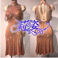 Sexy Leopard Women's Latin Dance Dress Rumba Samba Cha Cha Ballroom Dancewear