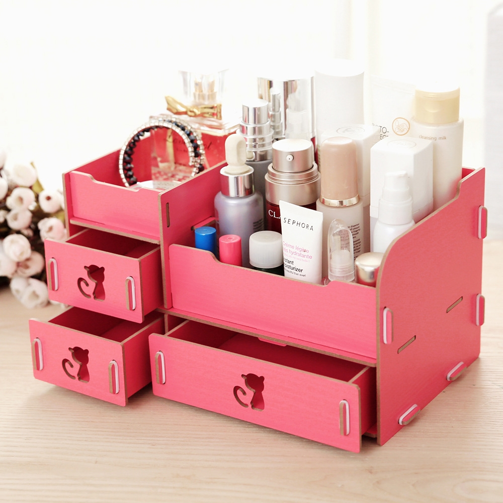 DIY Multi-functional wooden desktop storage box Jewelry Container organizer makeup case storage box Cosmetics holder Joyas Caso
