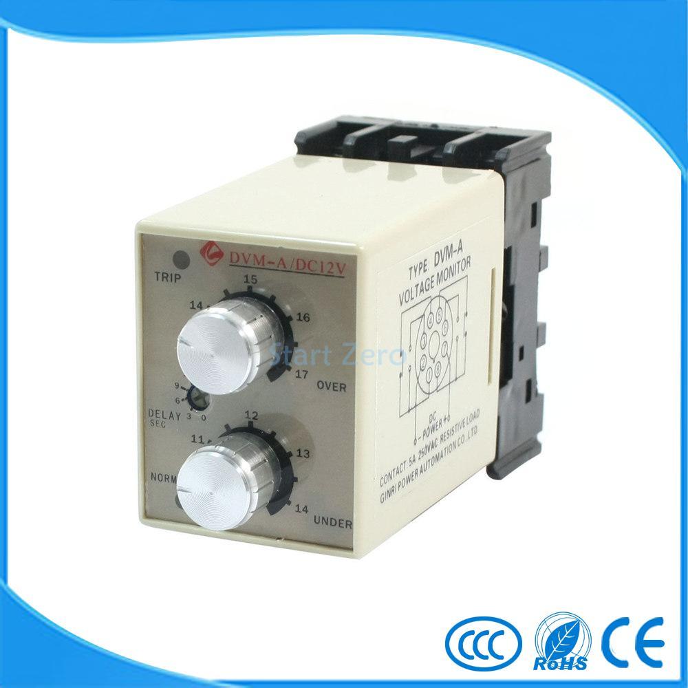 DVM-A/12V DC 12V Protective Adjustable Over/Under Voltage Monitoring Relay