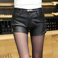 New Fashion Summer Women's Sexy Black 100% PU High Waist Shorts Vintage Slim Slit High quality Leather Shorts 1308