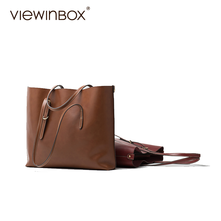 Viewinbox Designer Women's Split Cattle Leather Bag Lady OL Casual Tote Bag Fashion Handbag For Women Shoulder Top Handle Bag luxury brand women split leather handbag high quality pu leather shoulder bag large capacity totes cattle split hand bag for mom