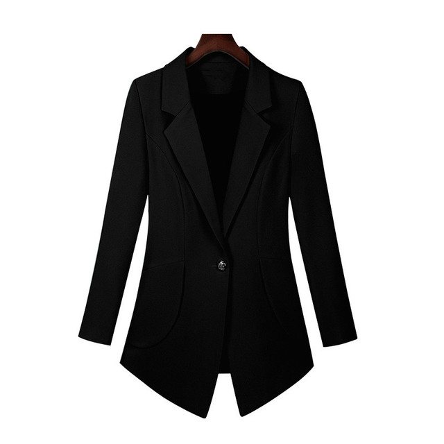 New 2018 Autumn Plus Size 7XL Women Blazers Long Sleeve Solid Blazer Fashion Asymmetrical Split Slim Outerwear 5
