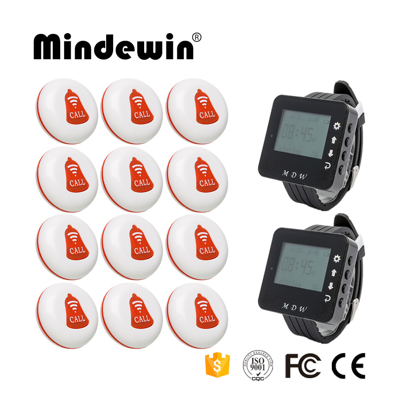Mindewin Wireless Restaurant Table Buzzer Waiter Calling System 12PCS Call Button M-K-1 and 2PCS Watch Pager M-W-1 Paging System service call bell pager system 4pcs of wrist watch receiver and 20pcs table buzzer button with single key