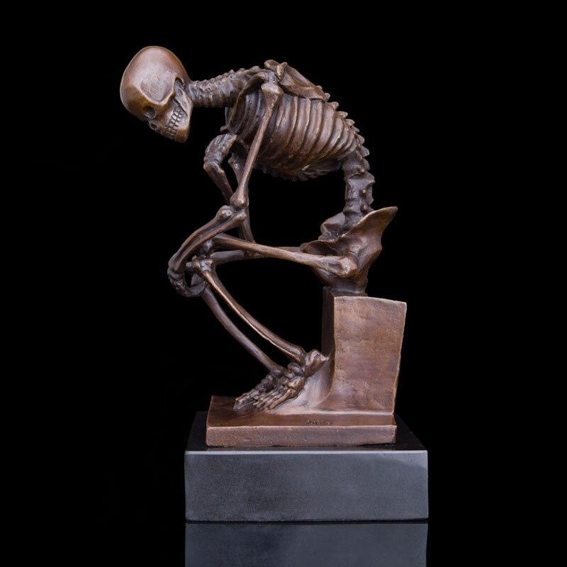 Classical famous bronzeThinker skeleton statue skull sculpture in Statues Sculptures from Home Garden