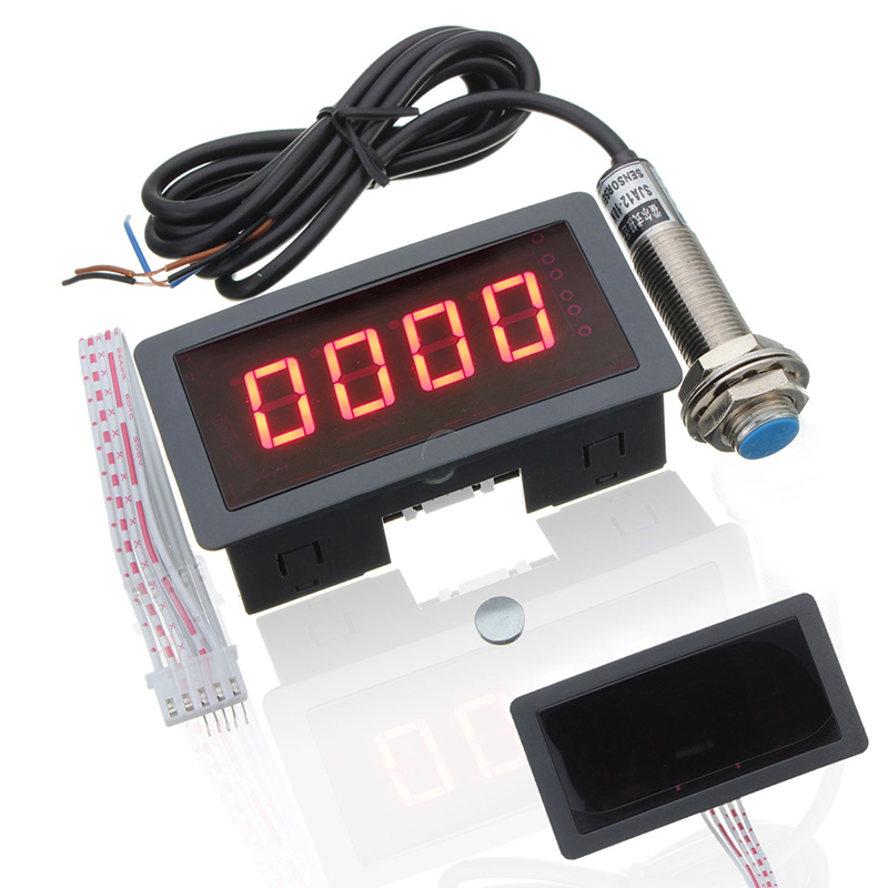 Mayitr Red 4 Digital LED Tachometer RPM Speed Meter + NPN 5 Wires Normally Open Magnetic Hall Proximity Switch Sensor DC 8-24V