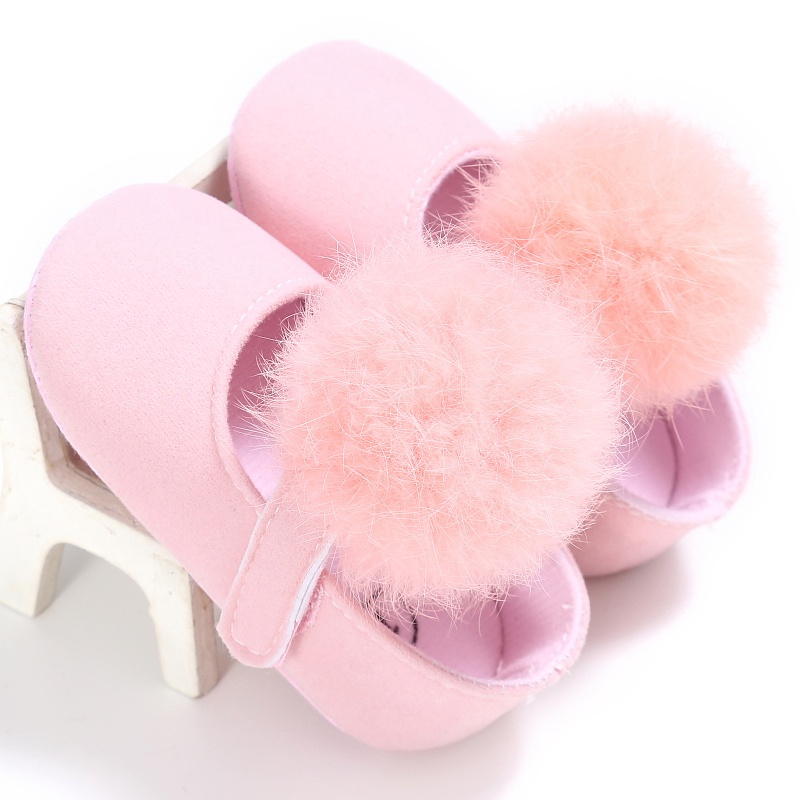 2018 New Style Kids Girls Fashion Cotton Fabric Toddler Shoes Girl Cute Hairball Anti-sk ...