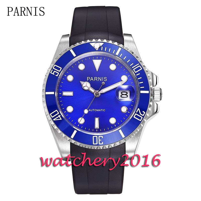 Casual 40mm Parnis blue dial luminous marks sapphire glass date adjust blue ceramic bezel Automatic movement Men