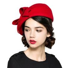 Fedora elegante 100% lana fieltro blanco negro señoras sombreros rojos boda  fascinadores mujeres Bowknot boinas a44eb4e767b