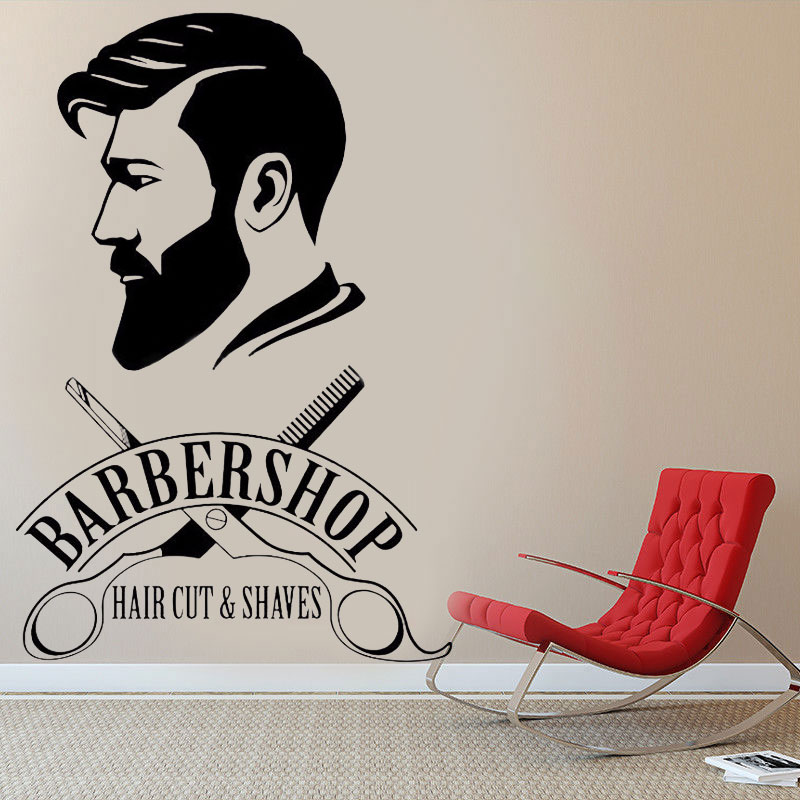Image 1 - Barbershop Logo Vinyl Sticker Barber Shop Window Decal Hair Cut And Shaves Wall Art Mural Hair Salon Decor Vinyl Wall Art MF35-in Wall Stickers from Home & Garden