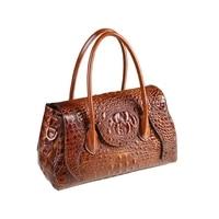 2019 new designer high quality split leather women's handbags crocodile pattern shoulder bag ladies boston pillow messenger bags