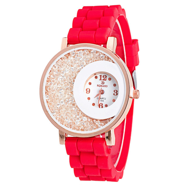 New Fashion Ladies watches geneva watch Luxury Brand Silicone quicksand Rhinesto