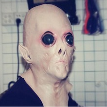 Halloween UFO Mask Creepy Latex Alien Head for Adults Masquerade Costume Party Cosplay
