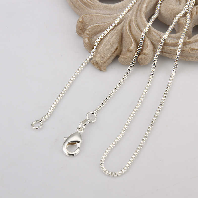 16-24inch Charms wedding party 1MM Box style chain 925 silver color cute women Men necklace jewelry silver fashion hot C007