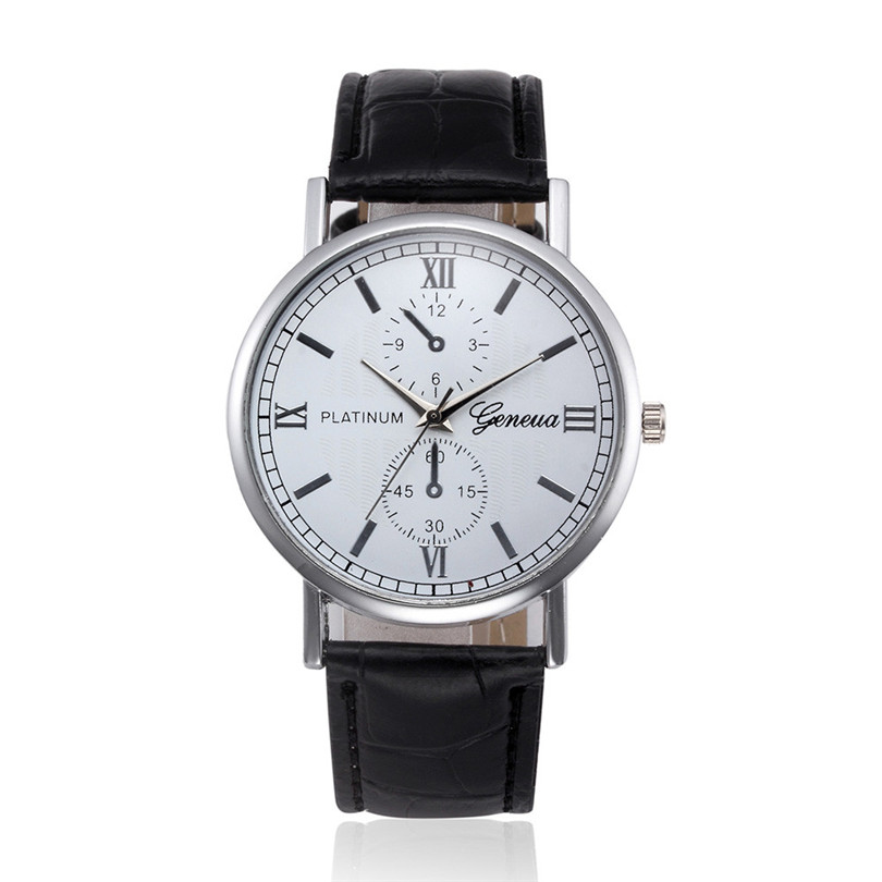 2018 Hot New Retro Design Leather Band Analog Alloy Quartz Mens Wrist Watch Casual Business Classics Men sport watch Gifts F80 mike 8825 men s business casual analog quartz wrist watch silvery white black