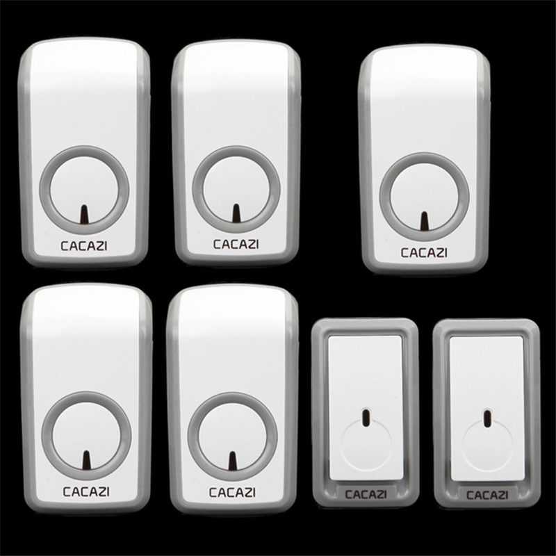 CACAZI W899 wireless doorbell AC 110-220V 2 doorbell buttons+5 doorbell receivers 48 ringtones 6 volume 350M remote door chime 2 receivers 60 buzzers wireless restaurant buzzer caller table call calling button waiter pager system