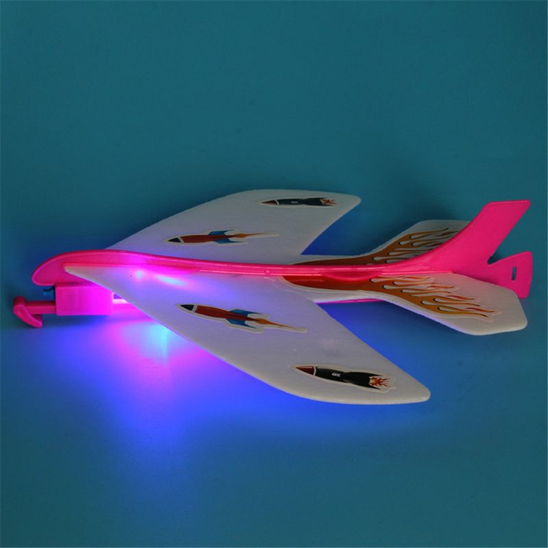 HBB 1PC Flashing Airplane LED Slingshot Glider Foam Aircraft Flash Light Flying Plane Ejection Plane Party Favors Kids Toys Gift