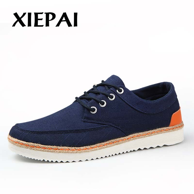 XIEPAI Men Casual Canvas Shoes Spring Summer Footwear Big Size 39-47 Popular Style Man Lace-up Flat Shoes men s leather shoes vintage style casual shoes comfortable lace up flat shoes men footwears size 39 44 pa005m