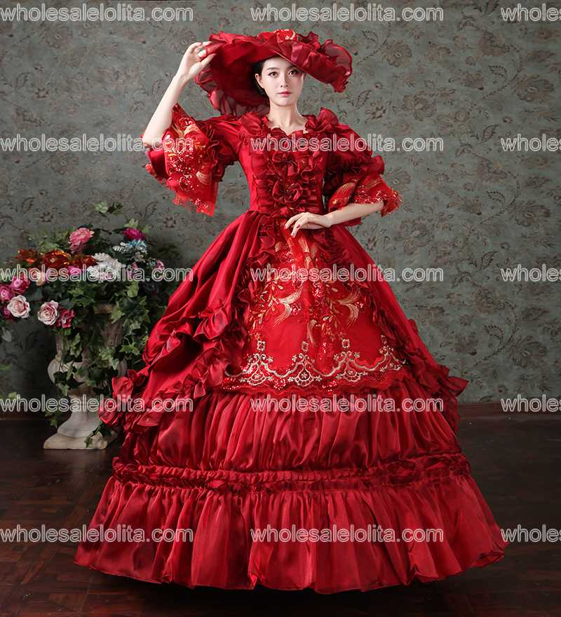 Red Rococo Baroque Marie Antoinette Ball Gown Dress 18th Century ...