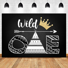 Neoback Black White Theme First Birthday Party Photo Background Gold Crown Chirld Wild One Booth Backdrop Studio