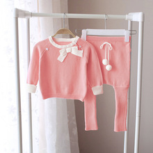 Knitting Suit Children Winter Set Baby Girls Princess Pink Sweater Clothing Sets Top Pants Warm for 0-3 Ages