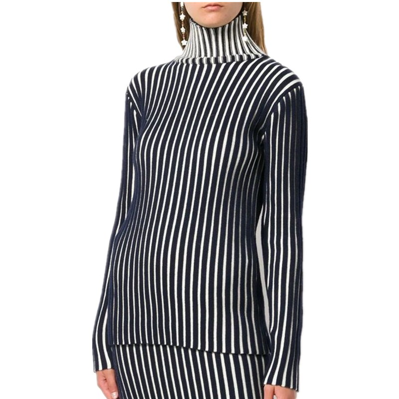 2018 Turtleneck Bodycon Sweaters Female Basic Pullovers Striped knitted Sweater High Neck Women Knitwear Woman Tops truien dames