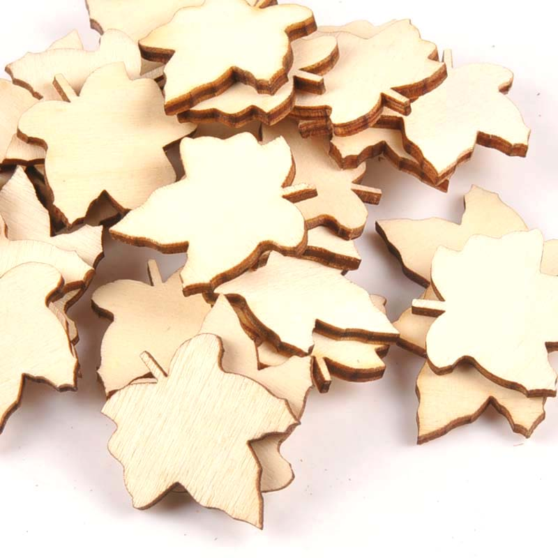 25Pcs 29x33mm Maple Leaf Pattern Unfinished Wood  DIY Crafts Scrapbook Wooden Ornaments Handmade Accessories Home Decor M1567