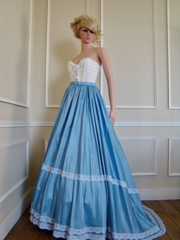 High Quality Victorian Edwardian Downton Abbey Blue Pleated Gathered Bustle Walking Skirt Theatrical Costume фото