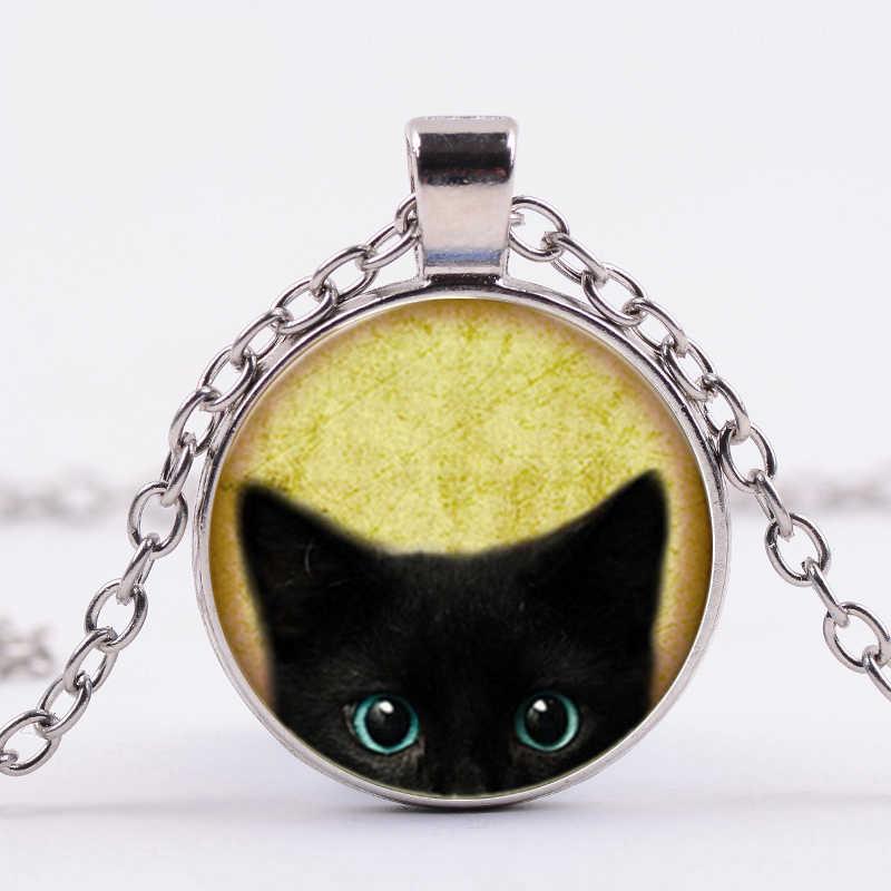 SONGDA חמוד שחור חתול אמנות ציור שרשרת עיניים גדולות חתול וציפור זכוכית קרושון Vintage בעלי החיים תליון שרשראות עבור חיות מחמד אוהבי