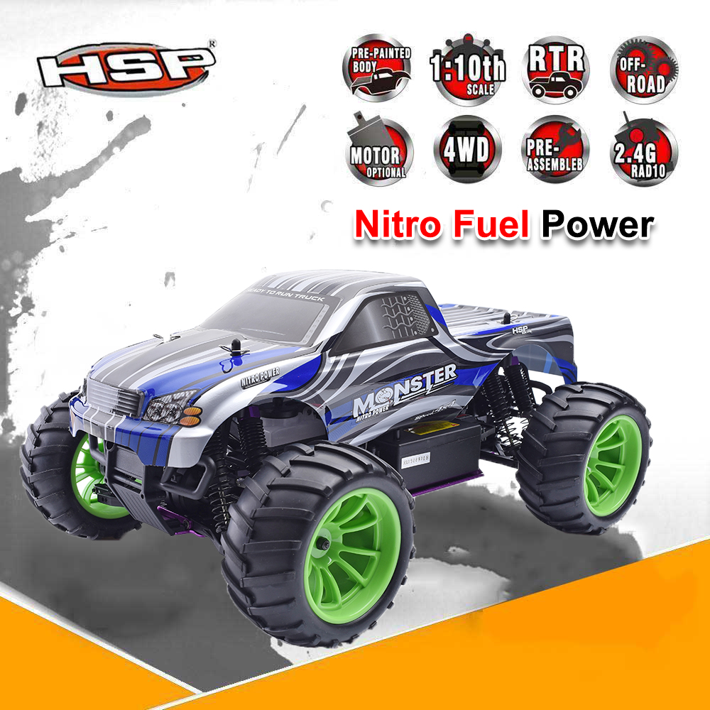 HSP Rc Truck Nitro Power 4wd Off Road Monster Truck Similar HIMOTO REDCAT 1/10 Scale High Speed Hobby Remote Control Car 94108 hsp 94188 rc car nitro 4wd 1 10th off road monster buggy high speed 1 10 truck p2