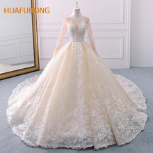 O-neck Long Sleeves Wedding Dress for Muslim Women Flowers Appliqued  Beading muslin Wedding Dress 9a7965c866e6