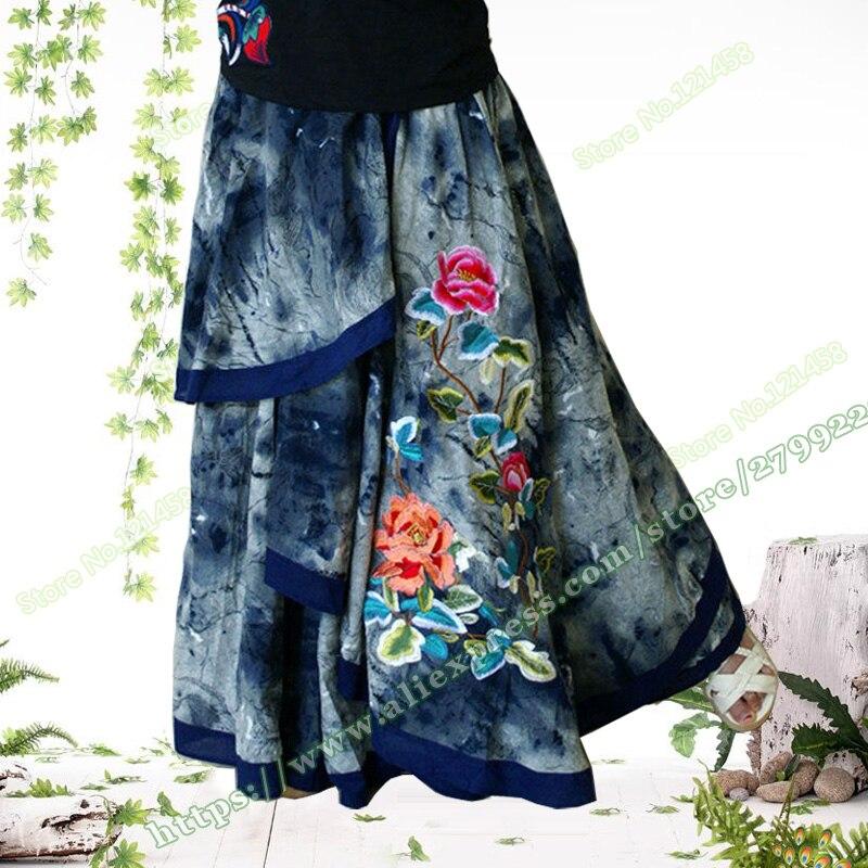 Vintage Casual Novel Irregular Embroidered Flower Denim Female Long Skirt / Jeans Maxi Skirts for Womens