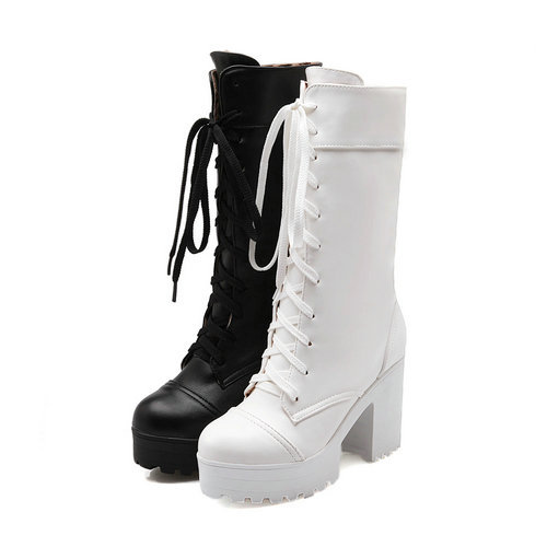 Riding boots chunky heels platform Faux pu leather round toe mid-calf boots fashion cross straps 2017 New Hot woman shoes riding boots chunky heels platform faux pu leather round toe mid calf boots fashion cross straps 2017 new hot woman shoes